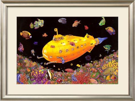 Yellow Submarine Impressão artística emoldurada