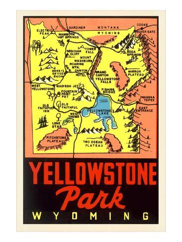 Yellowstone National Park Map, Montana Art Print