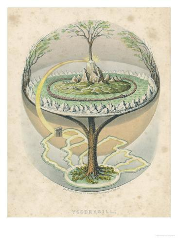 Yggdrasil the Sacred Ash the Tree of Life the Mundane Tree of Norse Mythology Giclee Print