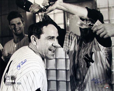 Yogi Berra Champagne B&W (Signed by Regan) (MLB Auth) Autographed Photo (Hand Signed Collectable) Photo