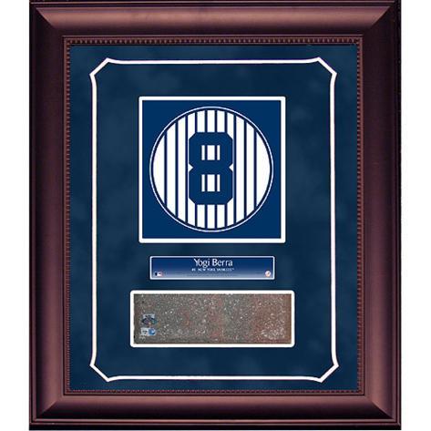 Yogi Berra Retired Number Monument Park Brick Slice Collage w/ Nameplate Framed Memorabilia