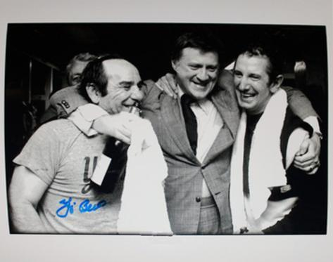 Yogi Berra Signed Celebration with Steinbrenner and Martin B&W Photo