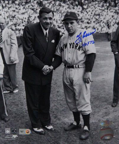 "Yogi Berra Signed Standing With Babe Ruth w/ ""HOF 1972"" insc Photo"