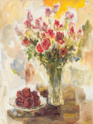 Red Roses in Crystal Vase Premium Giclee Print