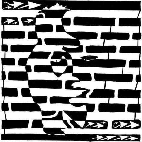 Saxophone Lady Optical Illusion Maze Poster