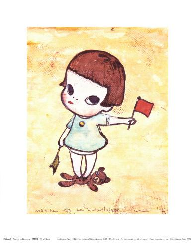 Girl with Direction Indicator Flags, c.1996 Art Print