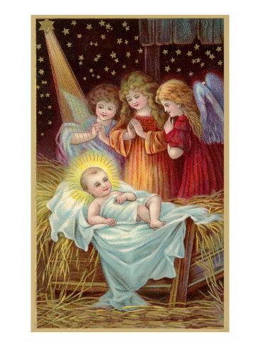 Young Girl Angels Admiring Christ Child Art Print