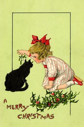 Young Girl with Red Bow and Shoes Holding Mistletoe Over a Black Cat, Beatrice Litzinger Collection Giclee Print