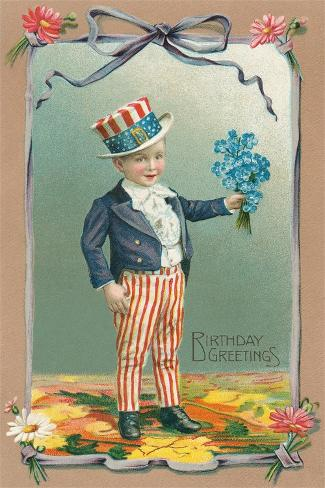 Young Patriot Birthday Greetings Stampa artistica