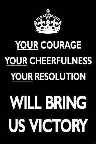Your Courage Will Bring Us Victory (Motivational, Black) Art Poster Print Poster