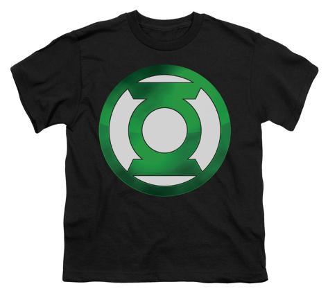 Youth: Green Lantern - Green Chrome Logo Kids T-Shirt