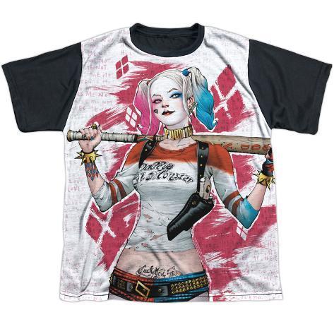 Youth: Suicide Squad- Harley Relaxed Bat Argyle (Black Back) Kids T-Shirt