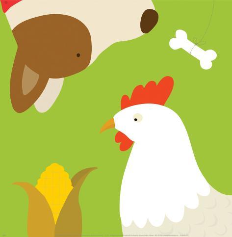 Farm Group: Hen and Dog Art Print