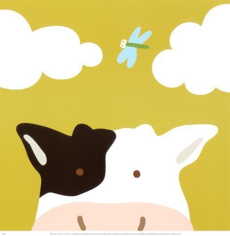 Peek-a-Boo III, Cow Art Print