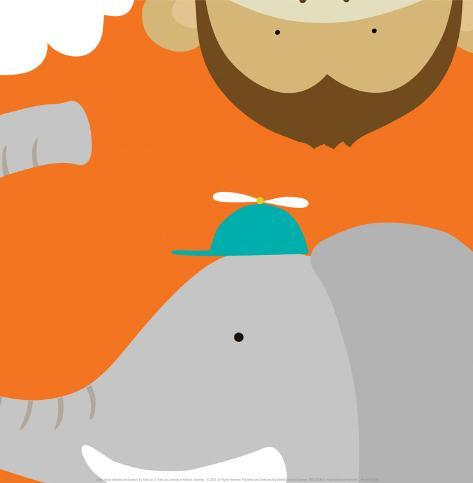 Safari Group: Monkey and Elephant Art Print