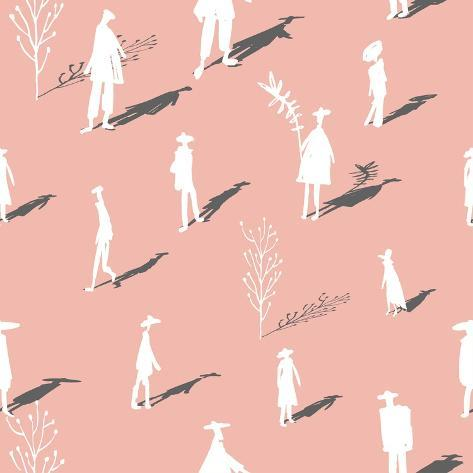 Seamless Pattern of Trees and People Silhouettes with Shadows Hand-Drawn Ink. Art Retro Background Art Print