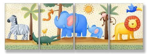 Zebra, Elephant, Lion Set of 4 Wood Sign