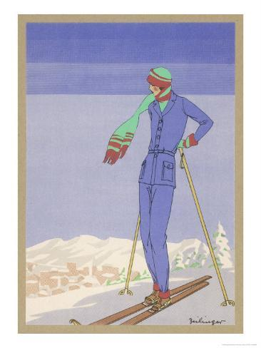She Pauses Before Embarking on the Piste in Her Elegant Ski Costume Giclee Print