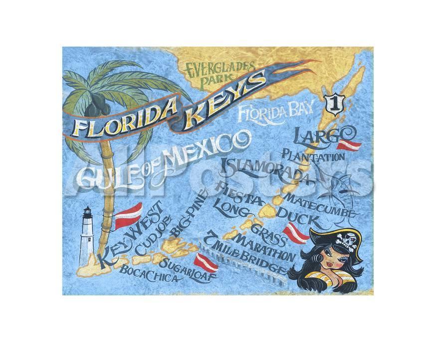 Printable Map Of Florida Keys.Florida Keys Map Poster