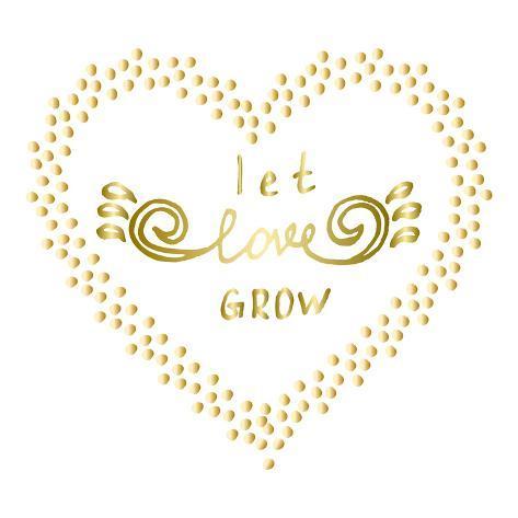 Let Love Grow Motivational Words Gold Confetti Heart Shape Frame Custom Motivational Words