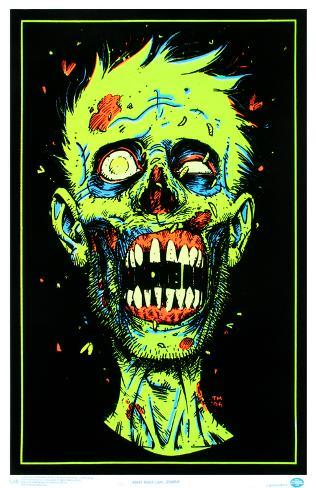 Zombie face blacklight poster print stampa su for Poster psichedelici