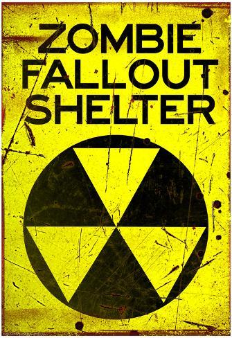 Zombie Fallout Shelter Sign Black Triangle Poster Poster