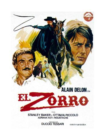 Zorro, (AKA El Zorro), Right: Alain Delon on Spanish Poster Art, 1975. Impressão giclée