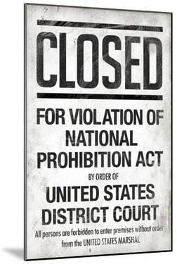Prohibition Act Closed Notice