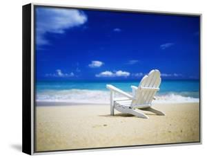 Beach Chair on Empty Beach by Randy Faris