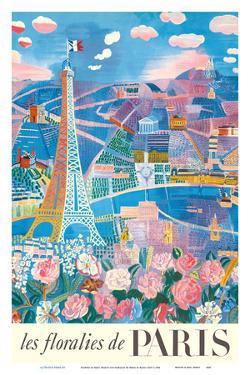 The Flowers of Paris, France (Les floralies de Paris) - Eiffel Tower by Raoul Dufy