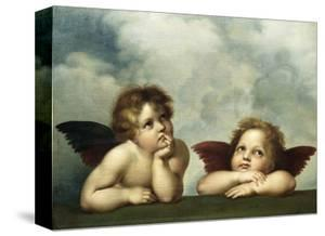 Painting of Cherubim After a Detail of Sistine Madonna by Raphael