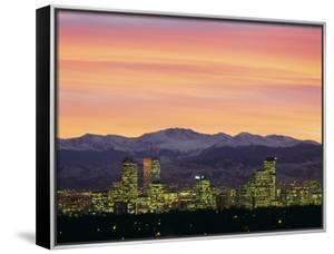 Skyline and Mountains at Dusk, Denver, Colorado, USA
