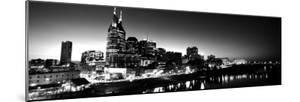 Skylines at Night Along Cumberland River, Nashville, Tennessee, USA