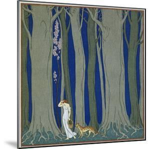 Book Illustration of a Woman and a Leopard in the Forest by Georges Barbier by Stapleton Collection