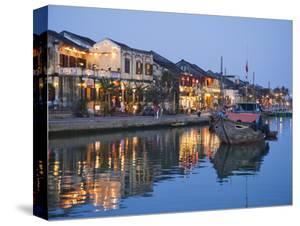 Vietnam, Hoi An, Evening View of Town Skyline and Hoai River by Steve Vidler