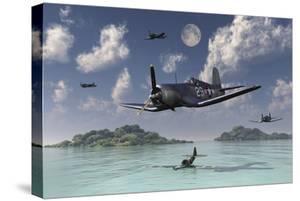 F4U Corsairs Flying over a Shot Down Japanese Nakajima Ki-84 Fighter Plane by Stocktrek Images