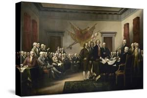 Painting of Leaders Presenting the Declaration of Independence by Stocktrek Images