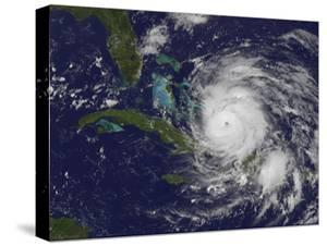 Satellite View of the Eye of Hurricane Irene as it Enters the Bahamas by Stocktrek Images