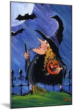 Witch and Bats Halloween Moon by sylvia pimental