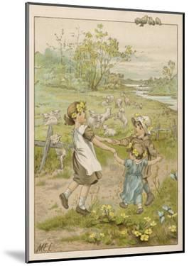Two Girls and a Boy Dancing in a Meadow in the Springtime - the Lambs are Frisky Too