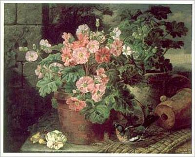 Still Life of Primules & Chaffinch