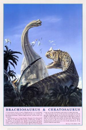 Brachiosaurus and Ceratosaurus Dinosaurs