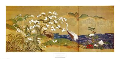 Cranes and Blossoming Trees