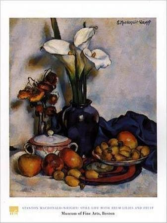 Still Life W Arum Lilies and Fruit
