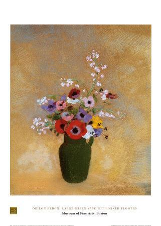 Large Green Vase with Mixed Flowers