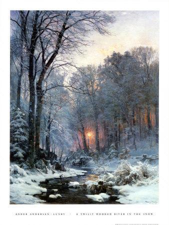 Twilit Wooded River in the Snow
