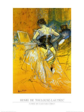Femme Mettant Son Corset