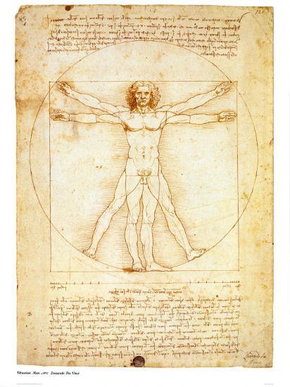Vitruvian Man, c.1492 Art by Leonardo da Vinci at AllPosters.com