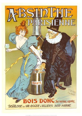 POSTER ABSINTHE PARISIENNE BIG BOTTLE WOMAN WIZARD DRINK VINTAGE REPRO FREE S//H