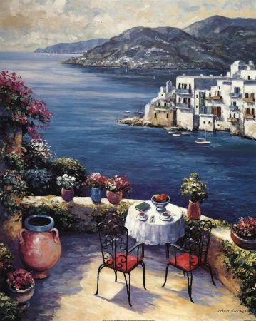 Mediterranean Vistas w Black Chairs